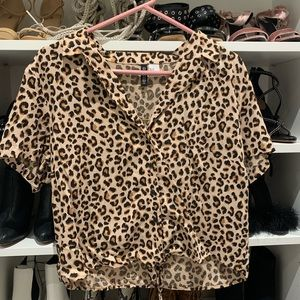 H&M Divided Tie Front Leopard Cheetah Print Top